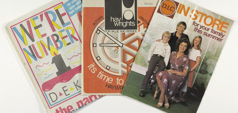 Mailers for DEKA (1989), Haywrights (1975) and D.I.C (1980). Photos: Ephemera Collection, Hocken...