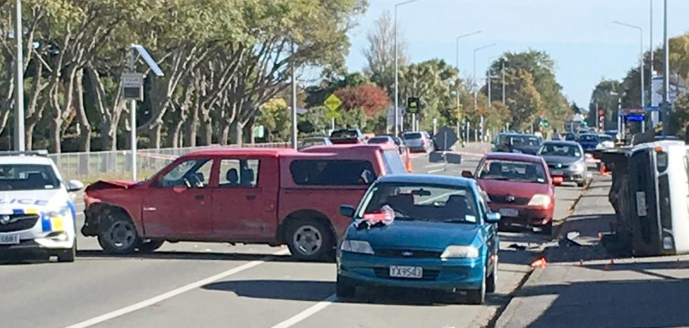 The red ute at the centre of a police pursuit in Invercargill yesterday sits abandoned in Herbert...