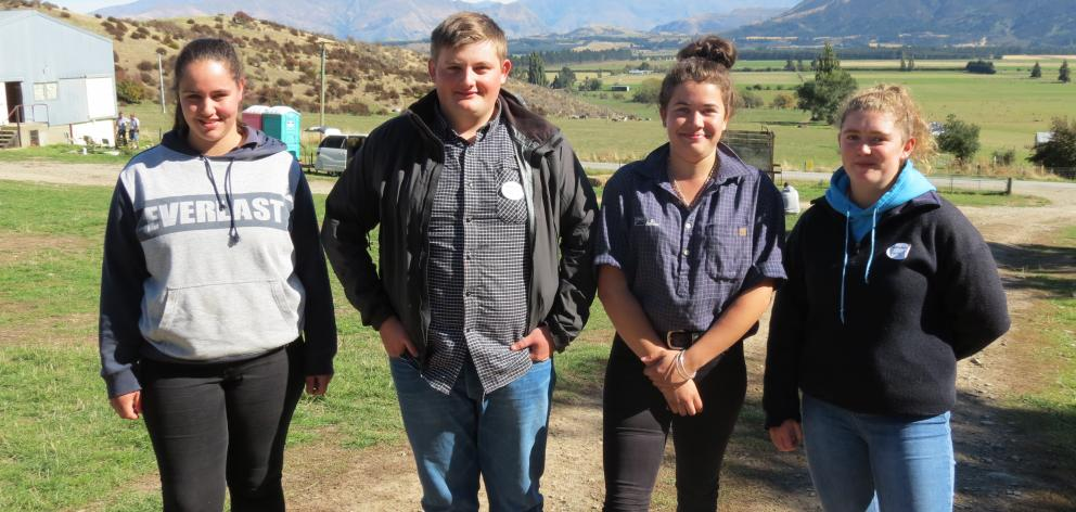 Several Mackenzie College pupils attended an agriculture careers days at Lincoln University's Mt Grand Station, Lake Hawea, on April 8. Enthusiastic about possible career options are (from left) Brooklyn Scott (17), Riley Kennedy (17), Emma Burbery (16) a