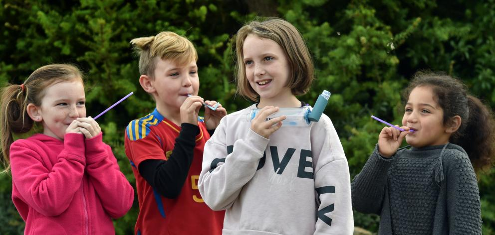 As part of World Asthma Day, Taieri Beach School pupils (from left) Indica Hawkins (9), Delrio Hulme (7) and Reina Thompson (5) breathe through straws to experience what it feels like to have asthma, like fellow pupil Dannielle Hawkins (10, front). Photo: