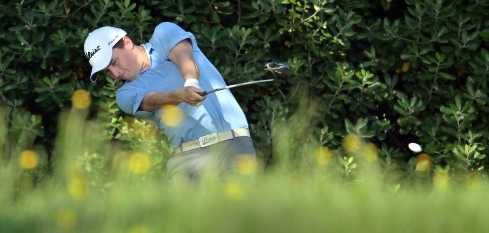 Otago strokeplay championship winner Matt McLean unleashes a powerful drive on the fifth tee...