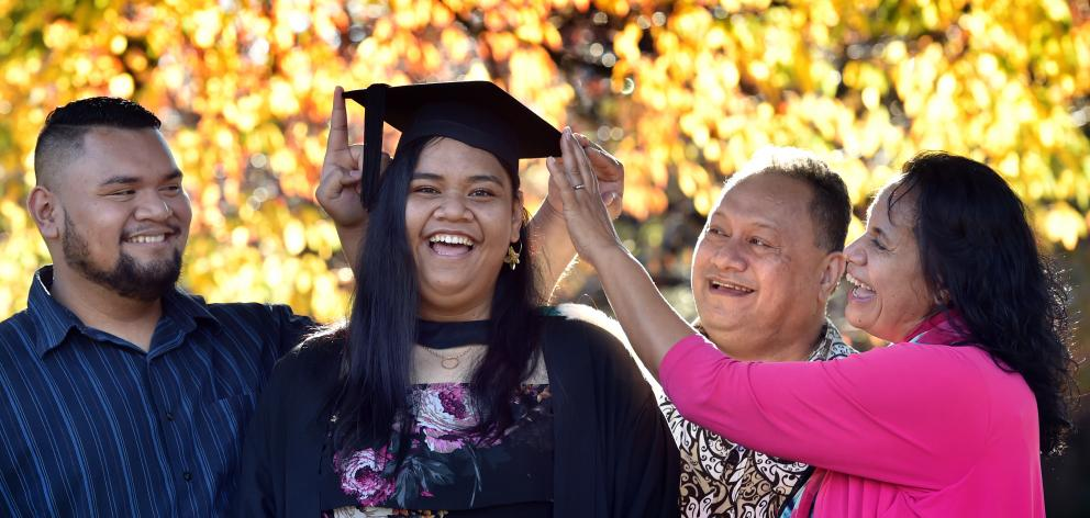 Samoan University of Otago graduand Eliana Viali, with her brother Zenith Viali, father  Dr...