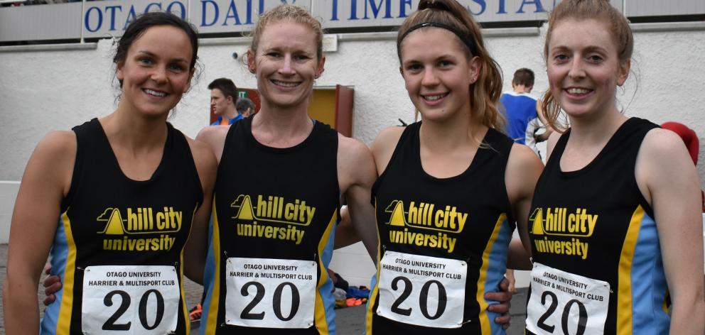 The Hill City-University senior women's winning team of (from left) Rebekah Greene, Margie...