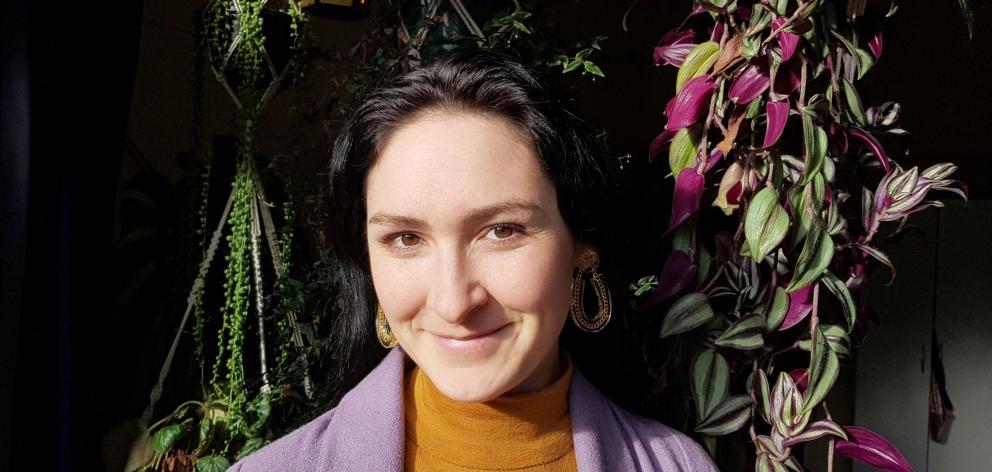 Jewellery designer Maria Brett wearing her figment earings.