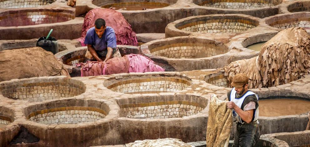 Two men wash and dye camel, goat, sheep and cow hides in the Chouara, the 11th-century tanners'...