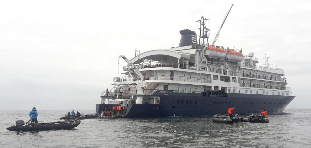 Caledonian Sky became the first cruise ship to visit Riverton yesterday. Photo: Environment...