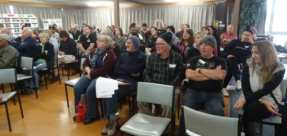 Wool classer association members listen to Miles Anderson's update at the national meeting in Timaru. Photos: Chris Tobin