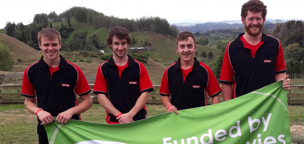 Four South Island shearers earned a sponsored trip to New Zealand Shearing Championships in Te Kuiti in March, after competing in the Beef + Lamb New Zealand Canterbury-Marlborough Development Circuit, including Mitchell Menzies (left), Braden Clifford, H