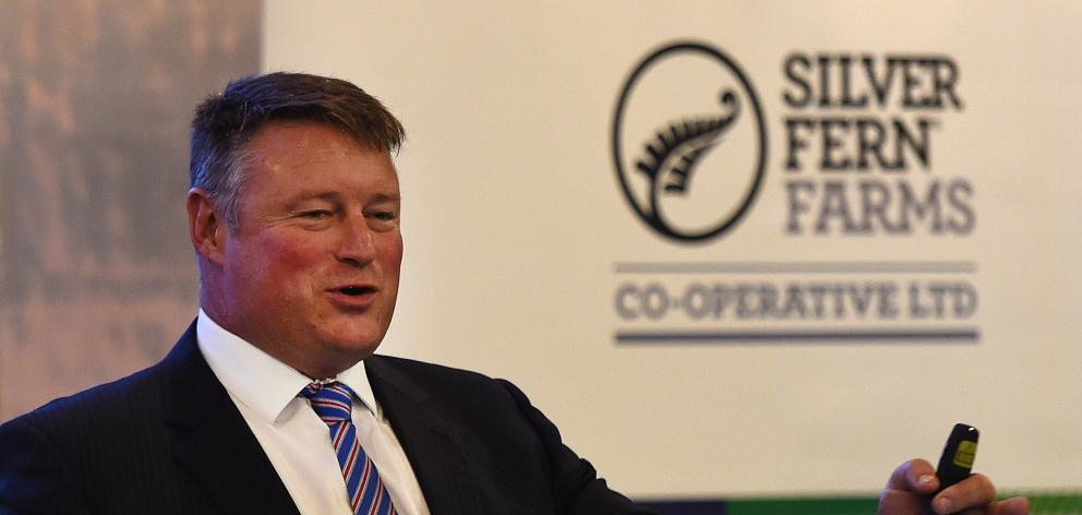 Silver Fern Farms Co-operative outgoing chairman Rob Hewett addresses the co-operative's annual meeting in Dunedin yesterday. P