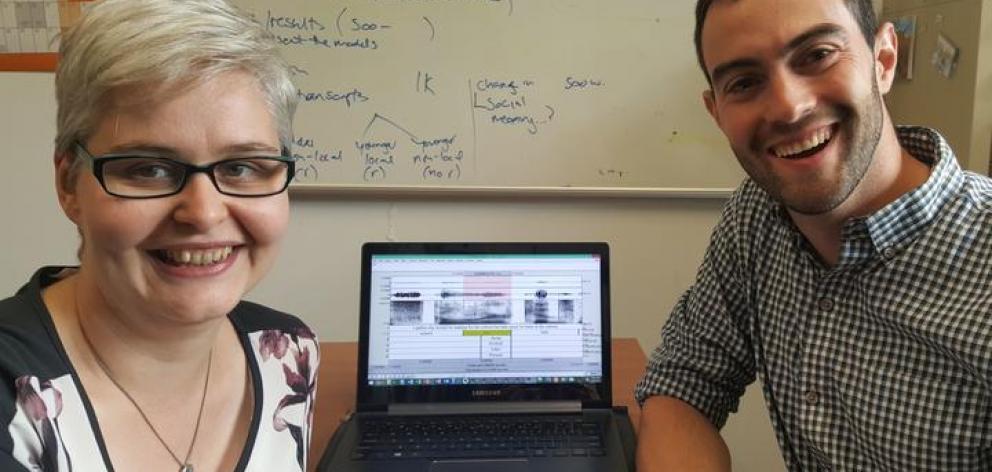 Linguistics researchers Lynn Clark and Daniel Villarreal,.at the University of Canterbury. Photo: RNZ / Alison Ballance