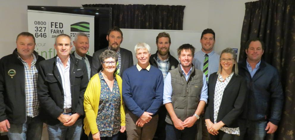 Federated Farmers' Otago held its annual meeting in Alexandra last week. The current executive team are (from left) Stephen Crawford, of Clydevale, Simon McAtamney, of Clydevale, Stephen Korteweg, of Kaitangata, re-elected president Simon Davies, of Toko