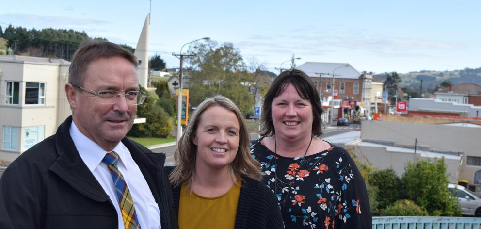 Greater Green Island Community Network chairman Steve Hayward, community worker Amanda Reid (centre) and treasurer Melanie McNatty want the Dunedin City Council to improve the main street of Green Island. Photo: Shawn McAvinue