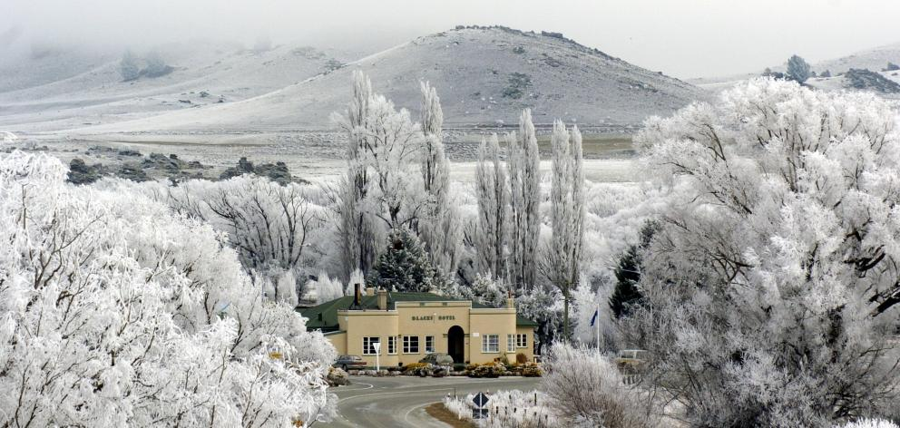 Blacks Hotel at Ophir, at the centre of a hoar frost in 2007. PHOTO: GERARD O'BRIEN