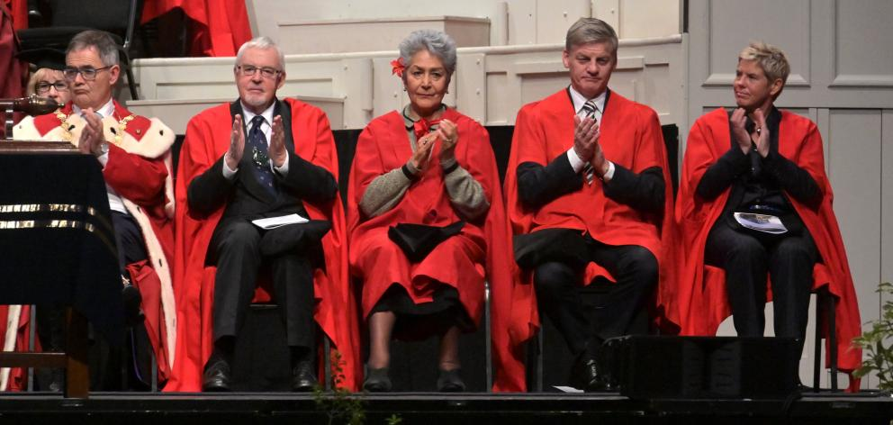 Dunedin Mayor Dave Cull (left), with honorary doctor of laws candidates (from left) historian...