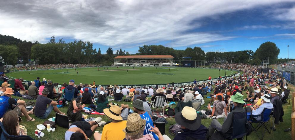 A crowd of about 4300 packed into the University Oval in Dunedin for the international cricket match between New Zealand and Bangladesh yesterday. Photos: Peter McIntosh