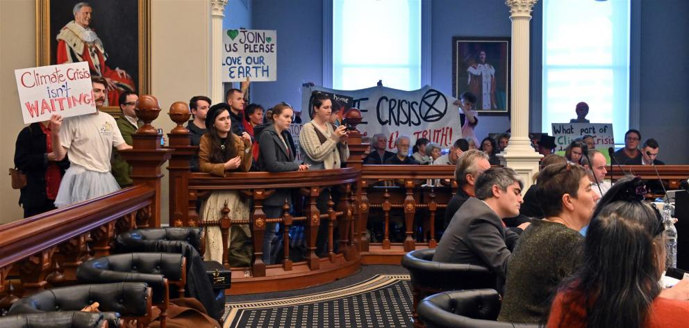 A packed public gallery made its feelings clear as councillors at yesterday's Dunedin City Council meeting voted to declare a climate emergency. Photo: Linda Robertson