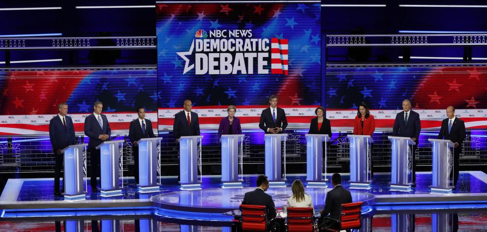 Candidates participate in the first U.S. 2020 presidential election Democratic candidates debate in Miami. Photo: Reuters