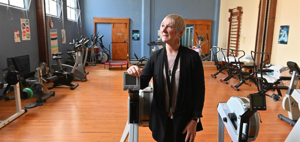 Southern District Health Board retiring chief allied health, scientific and technical officer Lynda McCutcheon in the Fraser Building gymnasium where she trained as a physiotherapist. Photo: Linda Robertson