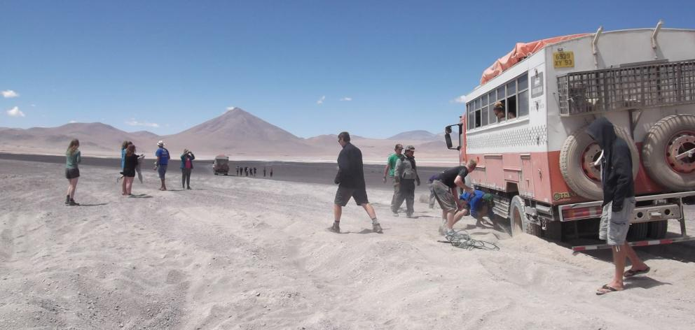With the roads in the Bolivian Altiplano often little more than tyre tracks, becoming bogged in...