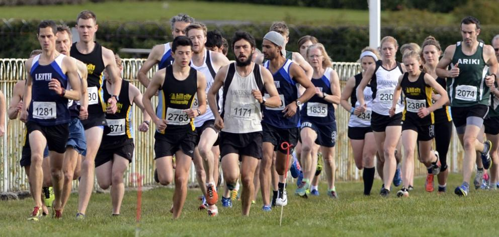 The combined fields take off from the Edmond Cup start line at the Wingatui