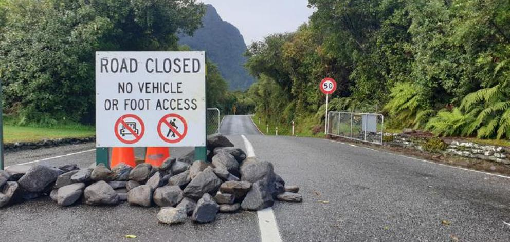 The Fox Glacier access road remains closed. Photo: RNZ / Tess Brunton