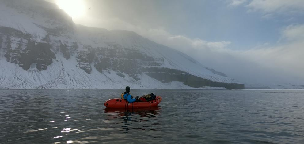 Dr Richard Stephenson, of Dunedin, moves to the south Skjalfandafljot River on his inflatable pack-raft, at the end of the Iceland traverse. Photo: Supplied