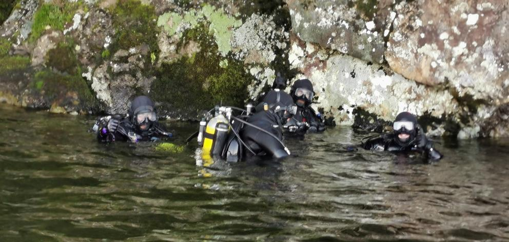 Police National Dive Squad about to commence search Lake Hauroko. Photo: Supplied