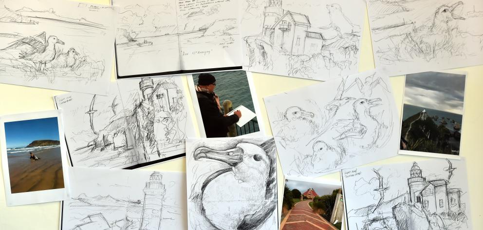 A collage of Tuffery's  working sketches and photographs completed while at Taiaroa Head and...