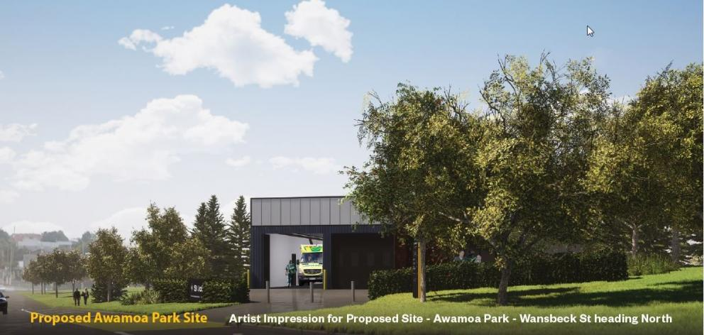 An artist's impression of a proposed new St John ambulance station at Awamoa Park, in Oamaru....