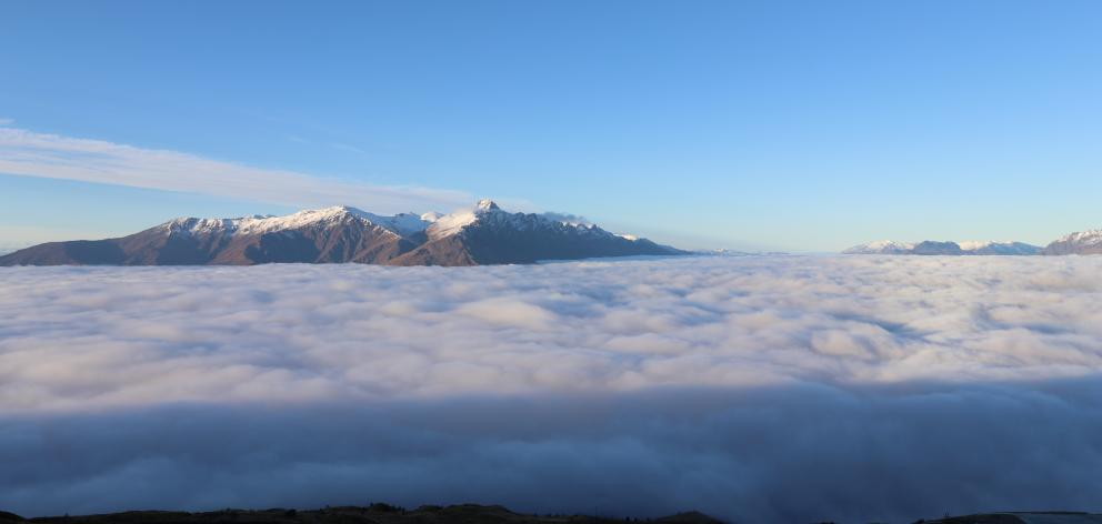 A view across the Wakatiu Basin from Coronet Peak towards the Remarkables on Saturday.