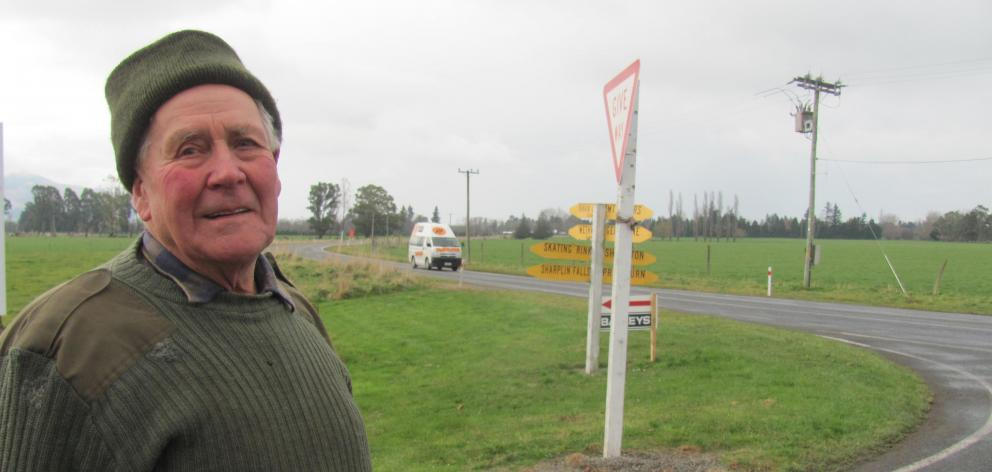 Staveley stalwart Richie Bruce says the Ashburton Staveley Rd-Arundel Rakaia Gorge Rd corner needs a stop sign to prevent further accidents. Photo: Toni Williams