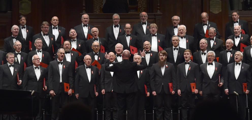 The Royal Dunedin Male Choir performs at the Dunedin Town Hall yesterday afternoon.PHOTO: PETER...