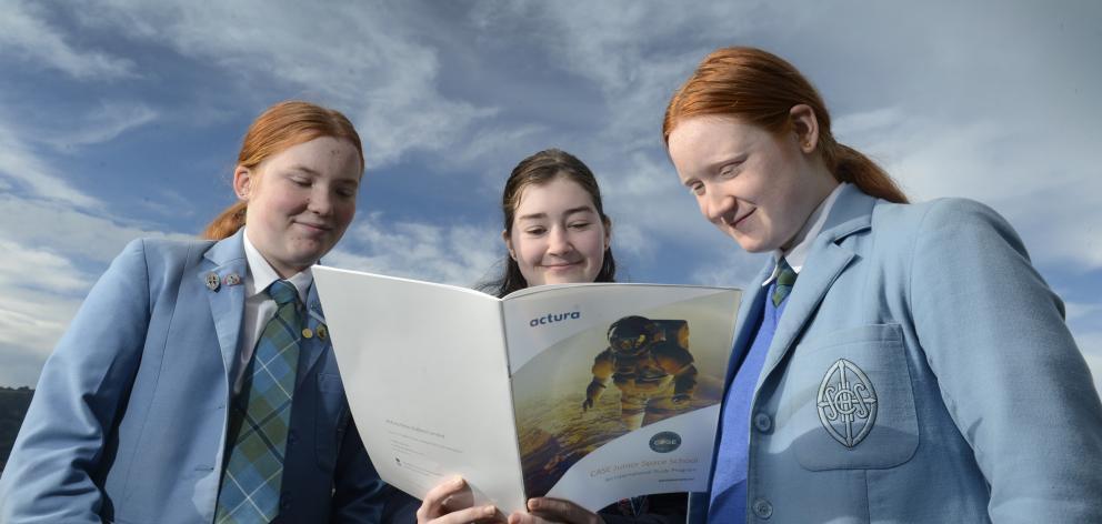 Dunedin secondary school pupils (from left) Sabine Mason, Hayley Everett and Peta Ericsson have...