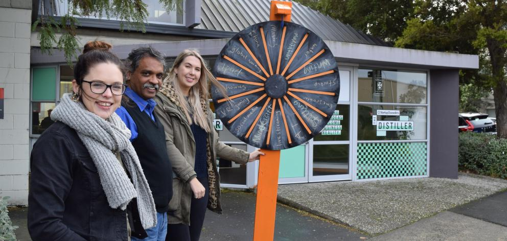 Audacious programme manager Rachel Butler (left), University of Otago marketing department senior lecturer Mathew Parackal and marketing student Zoe MacDonald-Mair. Photo: Shawn McAvinue