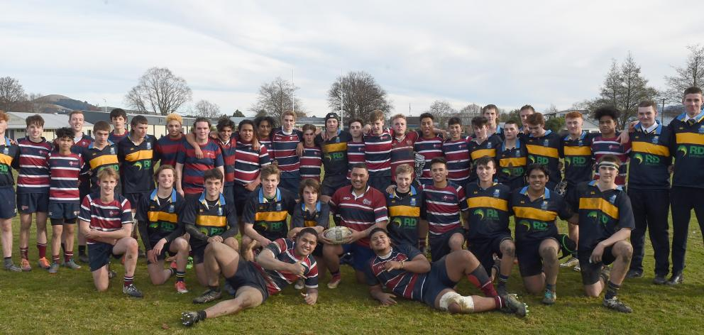 Taieri and Kavanagh College First XVs after their game at Taieri College last Thursday. Photos: Gregor Richardson