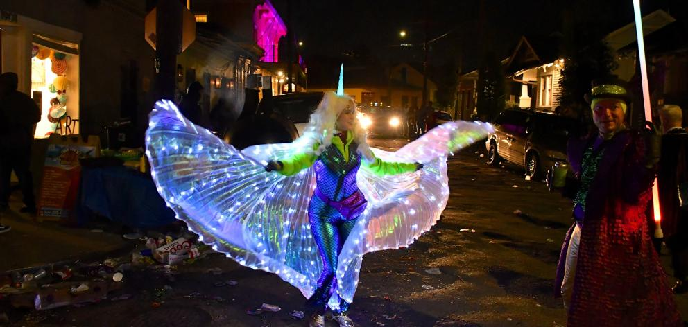 Dragonfly wings during Mardi Gras night in Royal St.