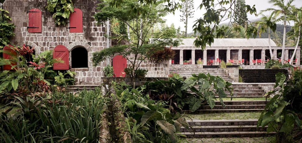 The remains of Golden Rock, a former sugar plantation, have been incorporated into a quaint four...
