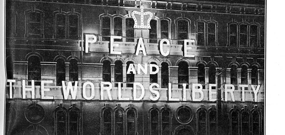 Peace celebrations in July, 1919 included light displays on buildings such as the Otago Daily Times. Photo: Otago Witness