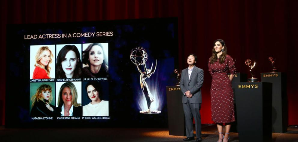 Ken Jeong and D'Arcy Carden attend the announce the nominees for the Emmy for best lead actress in a comedy series. Photo: Getty Images