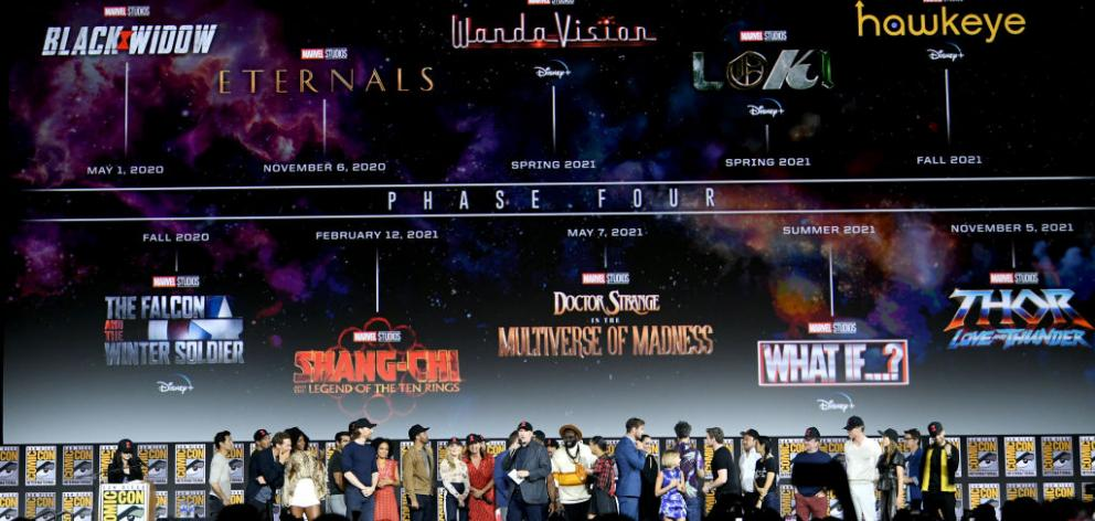 The Marvel Cinematic Universe Phase Four is announced with cast members during the Marvel Studios Panel during 2019 San Diego Comic-Con. Photo: Getty Images