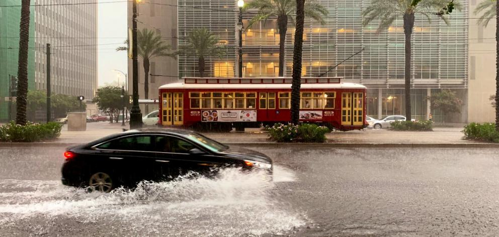 A flooded area is seen in New Orleans, Louisiana. Photo: David Mora via Reuters