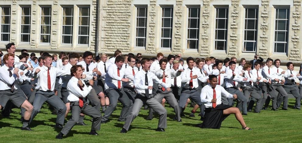 Waitaki Boys' High School pupils performed a haka outside the hall of memories when Prime...