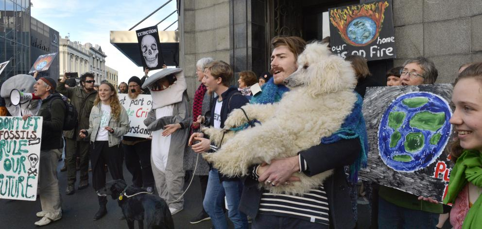 Jack Brazil and his standard poodle Saffron Squish join demonstrators protesting against OMV outside an Environmental Protection Authority hearing in Dunedin yesterday. Photo: Gerard O'Brien
