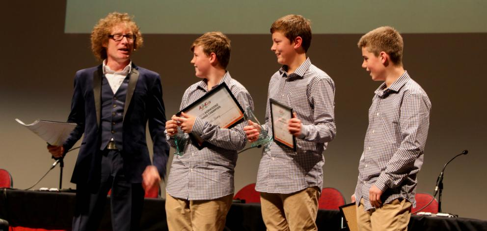 The Hogget Haggis team of Blue Mountain College, Tapanui, meet host Te Radar after winning the AgriKidsNZ Grand Final in Hawke's Bay on Friday. From left are Shamus Young (13), Flynn Hill (12) and Archie Chittock (12). Photo: Supplied