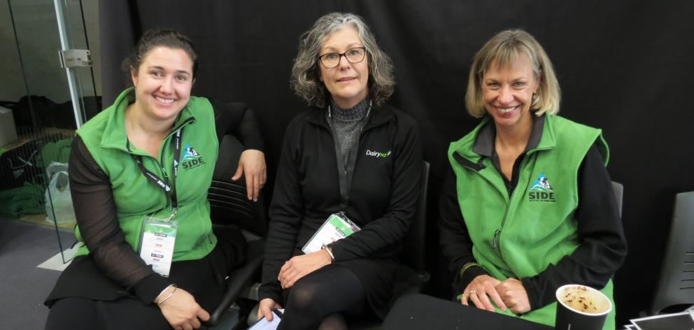 Waiting for the workshop sessions to finish during last week's South Island Dairy Event in Invercargill are (from left) Bridget McNally, of Oamaru, Ronda Ridsdale, DairyNZ, Invercargill, and Lynette Van Niekerk, DairyNZ, Cambridge. Photos: Yvonne O'Hara