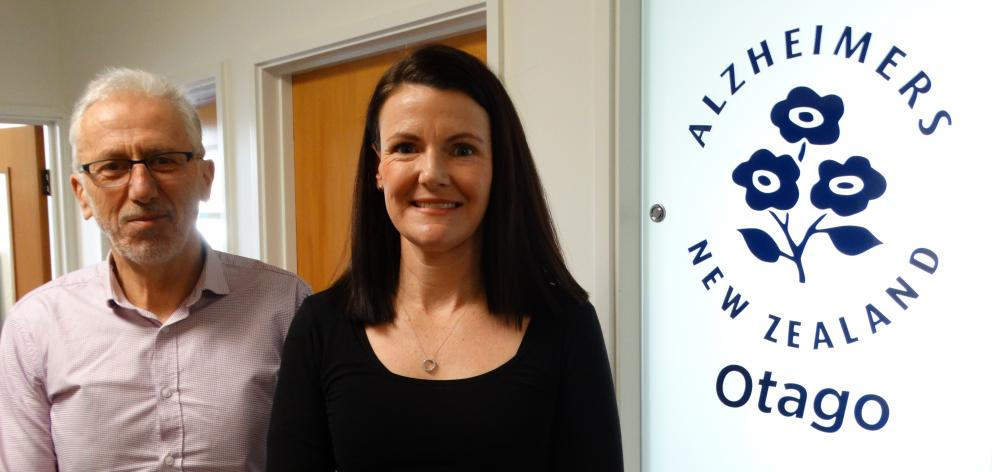 Newly-appointed Alzheimer's Otago manager Liz Harburg is supported by board chairman Maurice Burrowes as she learns the ropes in her second week in the role. Photo: Brenda Harwood