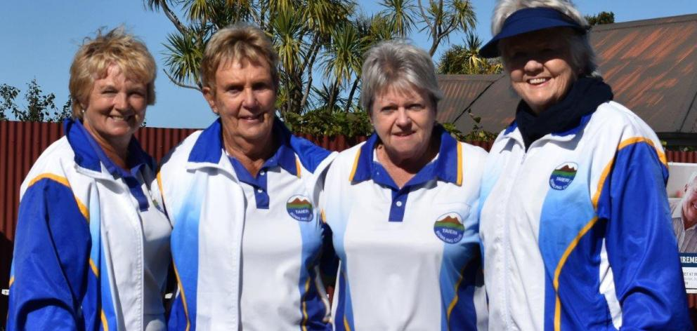 The winning Taieri women's bowls team of (from left) Beth Brown, Lorraine Turnbull, Jan Barclay and Dale Bourke after winning the Dunedin centre title in April at Balmacewen. Photo: Wayne Parsons