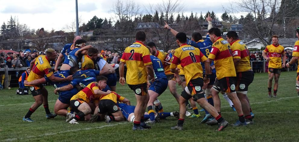 Otago flanker James Lentjes scores early in the second half during Saturday's Ranfurly Shield...