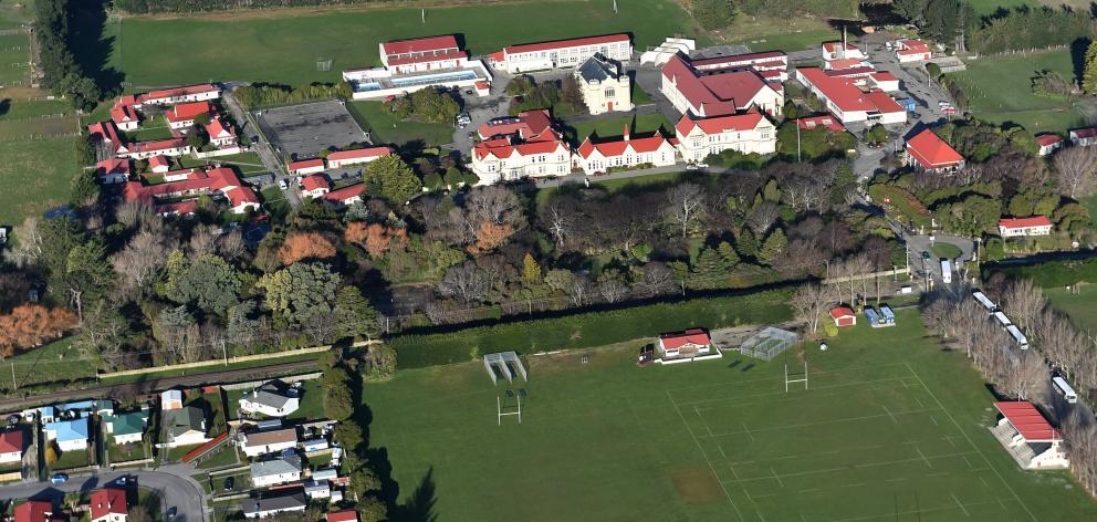 An aerial photo of Waitaki Boys' High School taken in 2017. Photo: Peter McIntosh