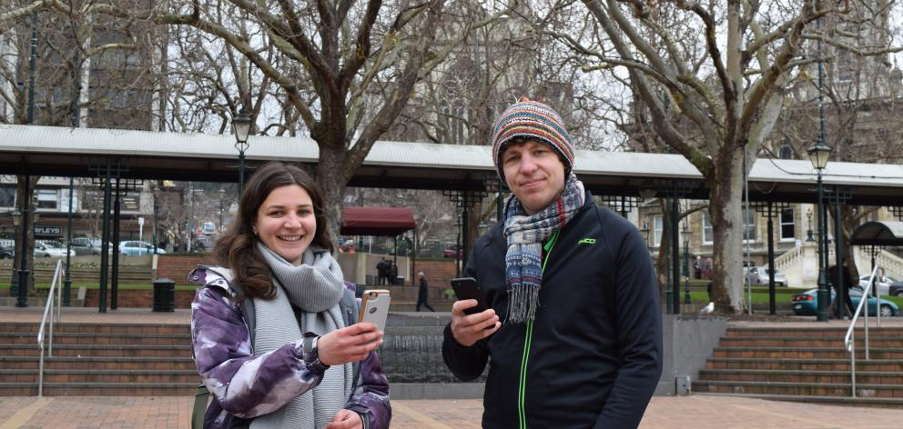 English tourists Joanna Hill and Matt Shadwick surf the internet using a Dunedin City Council wi...